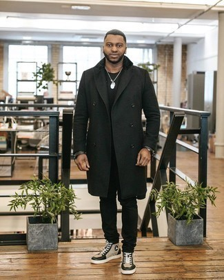 Coat Outfits For Men: For an effortlessly classy ensemble, pair a coat with black jeans — these two items work nicely together. Add a pair of beige leather high top sneakers to your outfit for an added touch of style.