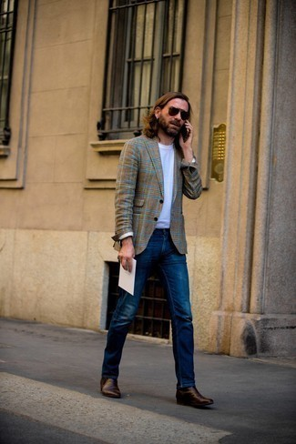 Dark Brown Leather Chelsea Boots Outfits For Men: So as you can see, looking effortlessly sleek doesn't require that much effort. Choose a brown houndstooth overcoat and navy jeans and you'll look incredibly stylish. Dark brown leather chelsea boots are the simplest way to infuse a dose of refinement into your look.