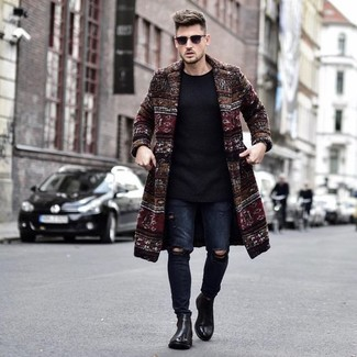How To Wear Blue Jeans With Black Leather Boots For Men: Inject new life into your daily off-duty collection with a burgundy overcoat and blue jeans. Black leather boots act as the glue that will bring your getup together.