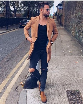 How to wear: camel overcoat, black crew-neck t-shirt, black ripped skinny jeans, tobacco suede chelsea boots