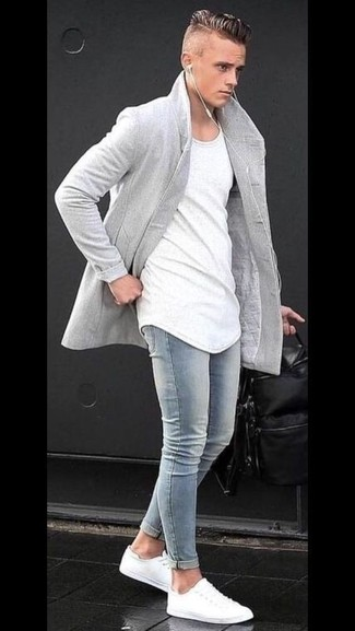 How to wear: grey overcoat, white crew-neck t-shirt, light blue skinny jeans, white low top sneakers