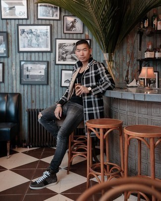 Charcoal Ripped Skinny Jeans Outfits For Men: Definitive proof that a black and white plaid overcoat and charcoal ripped skinny jeans are awesome when worn together in a city casual ensemble. This look is finished off nicely with dark brown suede high top sneakers.
