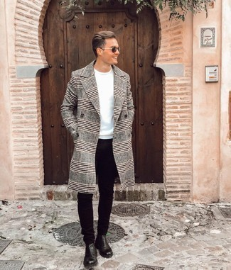 Black Skinny Jeans Outfits For Men: This combination of a grey plaid overcoat and black skinny jeans looks well-executed and instantly makes you look cool. A pair of black leather chelsea boots immediately kicks up the style factor of any ensemble.