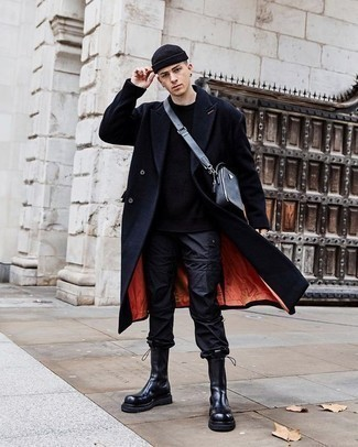 Black Beanie Outfits For Men: Fashionable and practical, this combo of a navy overcoat and a black beanie will provide you with variety. Black rain boots will give a different twist to this outfit.