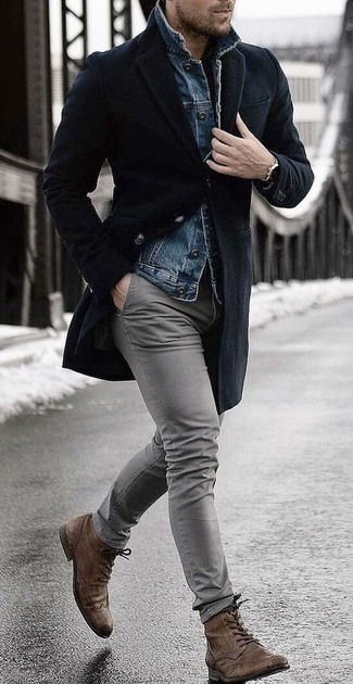 How to wear: black overcoat, blue denim jacket, grey chinos, brown leather brogue boots