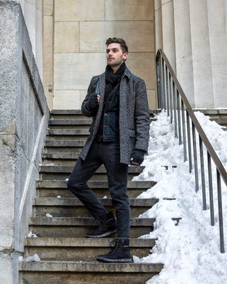 How to wear: charcoal herringbone overcoat, navy denim jacket, charcoal wool chinos, black suede work boots