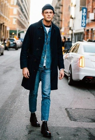 How to Wear a Blue Denim Jacket For Men: This casual combination of a blue denim jacket and blue jeans is ideal when you need to go about your day with confidence in your outfit. And if you want to effortlesslly perk up your look with one item, complement your outfit with black leather casual boots.