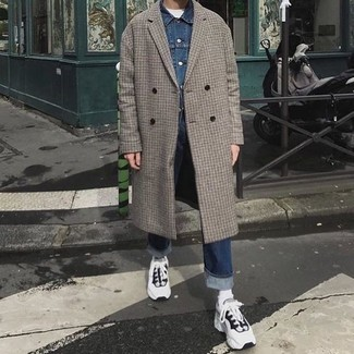 How to wear: grey check overcoat, blue denim jacket, white crew-neck t-shirt, navy jeans