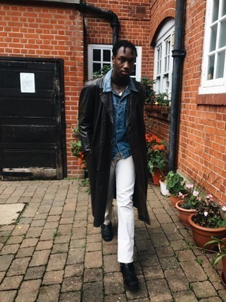 Denim Jacket Outfits For Men: Pair a denim jacket with white chinos for a casual kind of sophistication. Complement your outfit with a pair of black leather chelsea boots to kick things up to the next level.
