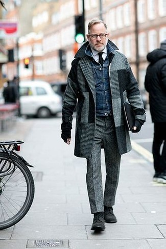 How to wear: grey check overcoat, navy denim jacket, white dress shirt, grey wool dress pants