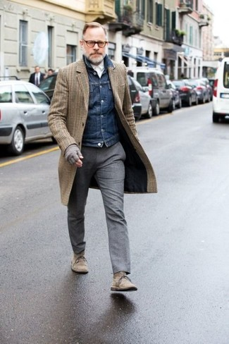 How to wear: brown check overcoat, navy denim jacket, white dress shirt, grey wool dress pants