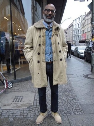 How to Wear a Light Blue Denim Jacket For Men: For an outfit that's very easy but can be manipulated in a multitude of different ways, make a light blue denim jacket and navy jeans your outfit choice. Introduce a pair of beige suede desert boots to your look and the whole getup will come together.