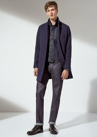 How to Wear a Navy Denim Jacket For Men: A navy denim jacket and navy jeans work together harmoniously. Our favorite of a multitude of ways to finish off this ensemble is a pair of black leather derby shoes.