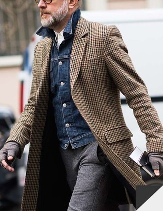 How to wear: brown herringbone overcoat, navy denim jacket, white long sleeve shirt, grey wool dress pants