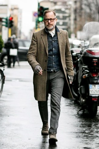 How to wear: brown gingham overcoat, navy denim jacket, white long sleeve shirt, grey wool dress pants