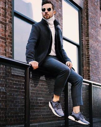 How to wear: navy overcoat, navy denim jacket, white knit turtleneck, navy vertical striped dress pants