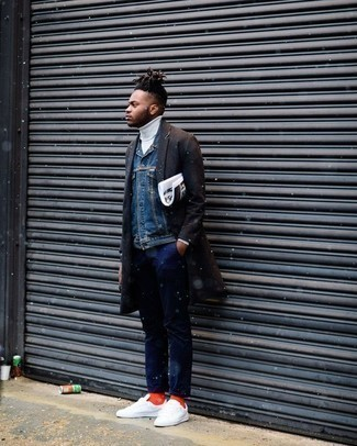 Dark Brown Overcoat Outfits: Combining a dark brown overcoat and navy chinos will be a true testimony to your expertise in men's fashion. White canvas low top sneakers are guaranteed to give a hint of stylish casualness to your getup.