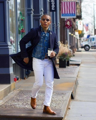 Charcoal Sunglasses Outfits For Men: Marry a navy overcoat with charcoal sunglasses to feel unstoppable and look stylish. Balance out this ensemble with a dressier kind of shoes, such as these tobacco leather chelsea boots.