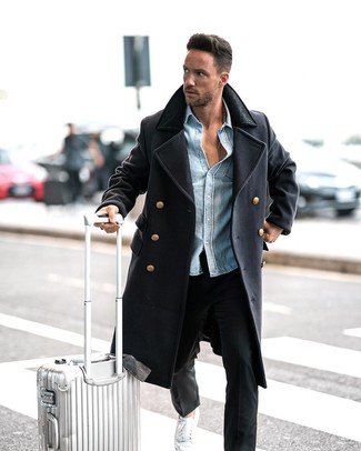 How to wear: navy overcoat, light blue denim shirt, black chinos, white low top sneakers