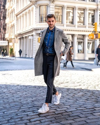 How to wear: grey overcoat, navy denim shirt, blue crew-neck t-shirt, charcoal dress pants