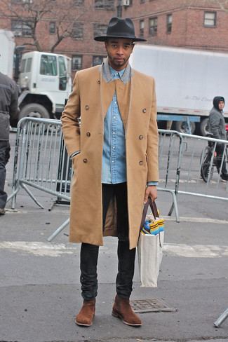 Make a camel overcoat and black jeans your outfit choice if you're going for a neat, stylish look. Brown suede chelsea boots will add elegance to an otherwise simple look.