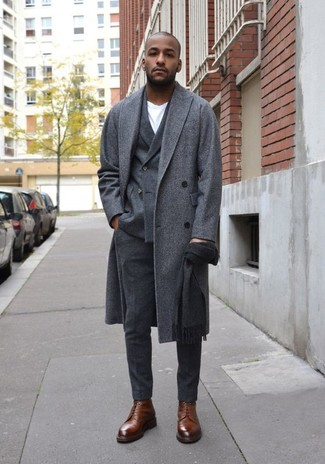 How to Wear Brown Leather Dress Boots For Men: Pair a grey overcoat with charcoal wool dress pants for masculine refinement with a twist. Let your outfit coordination prowess really shine by finishing your outfit with brown leather dress boots.