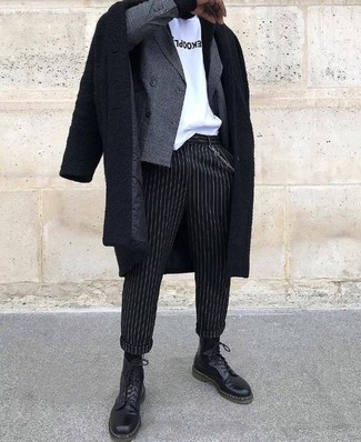 How to wear: black overcoat, grey check double breasted blazer, white and black print crew-neck t-shirt, black vertical striped dress pants