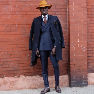 How to wear: navy overcoat, navy double breasted blazer, navy dress pants, brown leather oxford shoes