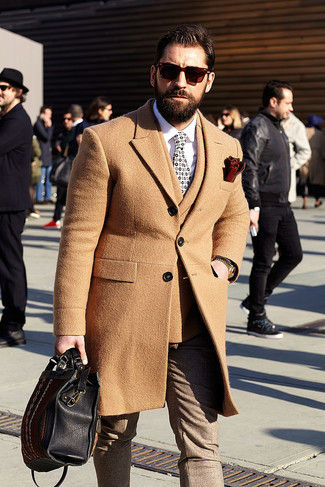 How to wear: camel overcoat, tan wool double breasted blazer, white dress shirt, brown wool dress pants