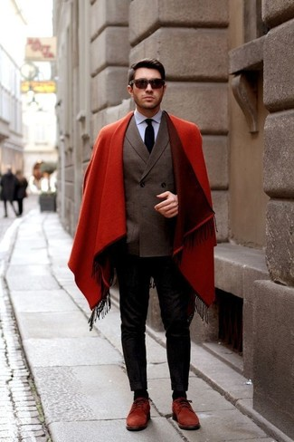 How to wear: red overcoat, dark brown double breasted blazer, light blue dress shirt, black chinos