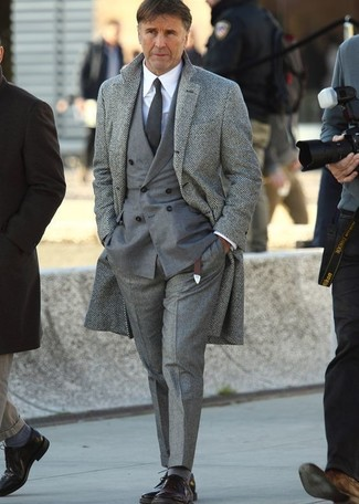 Men's Grey Herringbone Overcoat, Grey Double Breasted Blazer, White Dress Shirt, Grey Wool Dress Pants