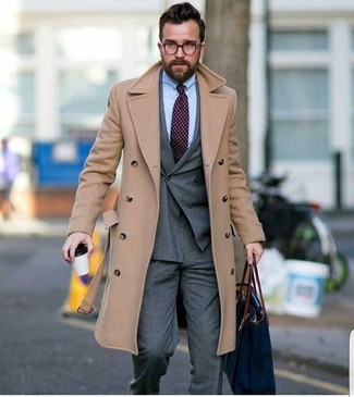 How to wear: beige overcoat, grey double breasted blazer, light blue dress shirt, grey dress pants