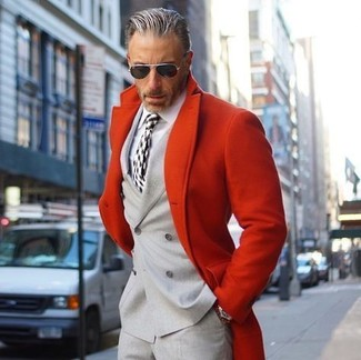 How to wear: red overcoat, grey double breasted blazer, white dress shirt, grey dress pants