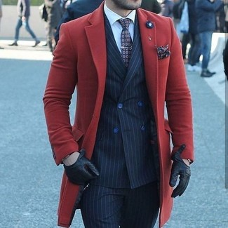 How to wear: red overcoat, navy vertical striped double breasted blazer, white dress shirt, navy vertical striped dress pants