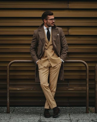 How to wear: brown plaid overcoat, tan double breasted blazer, white dress shirt, khaki dress pants