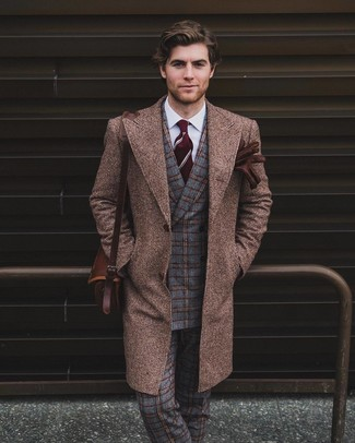 How to wear: brown overcoat, grey check wool double breasted blazer, white dress shirt, grey plaid wool dress pants