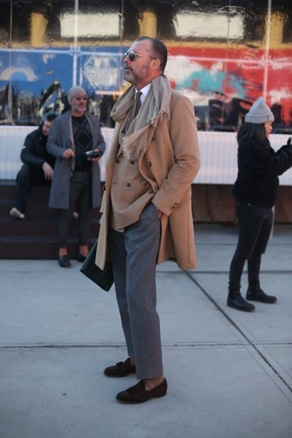 How to wear: camel overcoat, tan double breasted blazer, white dress shirt, grey wool dress pants