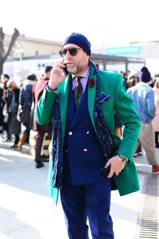 How to wear: green overcoat, navy double breasted blazer, light violet vertical striped dress shirt, navy dress pants