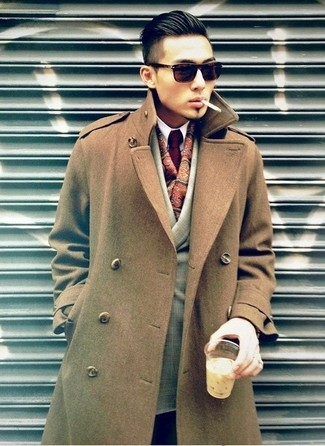 Single Breasted Flannel Overcoat Brown
