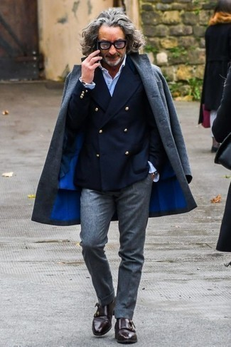 How to Wear Black Socks In a Dressy Way For Men: If you're looking for a street style but also on-trend ensemble, consider teaming a light blue overcoat with black socks. A pair of dark brown leather double monks instantly elevates any look.