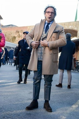 How to Wear Dark Brown Suede Oxford Shoes: A camel overcoat and navy dress pants are among the crucial elements of any classy menswear collection. A pair of dark brown suede oxford shoes looks awesome completing your outfit.