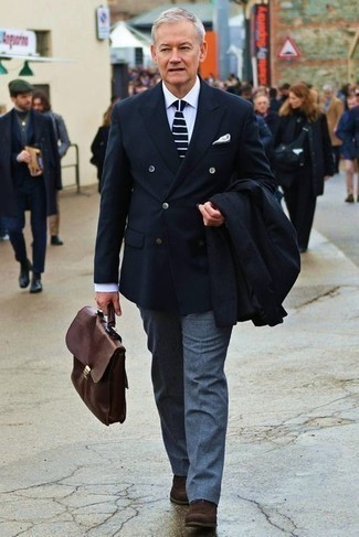Black Double Breasted Blazer Outfits For Men: Consider teaming a black double breasted blazer with blue wool dress pants to be the picture of class. For something more on the daring side to finish off this ensemble, complete this outfit with a pair of dark brown suede chelsea boots.