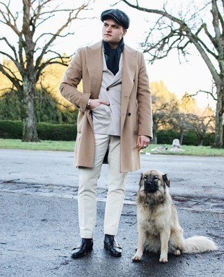 Black Leather Casual Boots Outfits For Men: For an effortlessly classic ensemble, pair a camel overcoat with white chinos — these pieces play perfectly well together. When it comes to footwear, this ensemble is rounded off nicely with black leather casual boots.