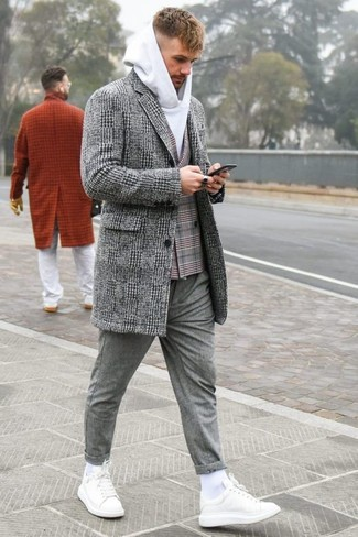 How to wear: grey plaid overcoat, grey plaid double breasted blazer, white hoodie, grey wool chinos