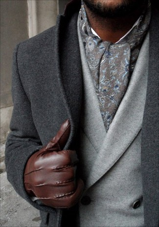 Look the best you possibly can in a charcoal overcoat and a grey double breasted blazer.
