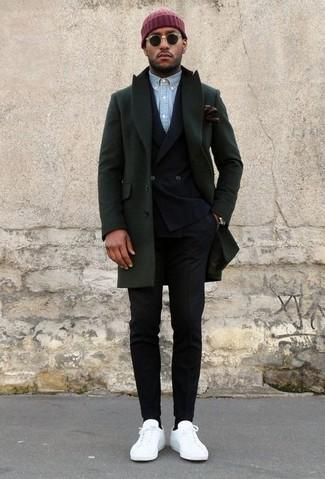 How to wear: dark green overcoat, black double breasted blazer, light blue chambray long sleeve shirt, black dress pants