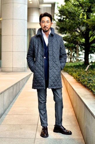 How to wear: charcoal quilted overcoat, navy double breasted blazer, white long sleeve shirt, charcoal dress pants