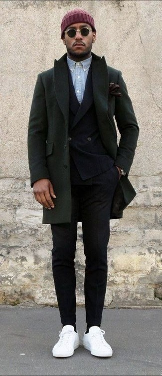 How to wear: olive overcoat, black wool double breasted blazer, light blue chambray long sleeve shirt, black wool dress pants