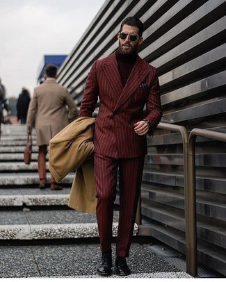 How to wear: camel overcoat, burgundy vertical striped double breasted blazer, burgundy turtleneck, burgundy vertical striped dress pants