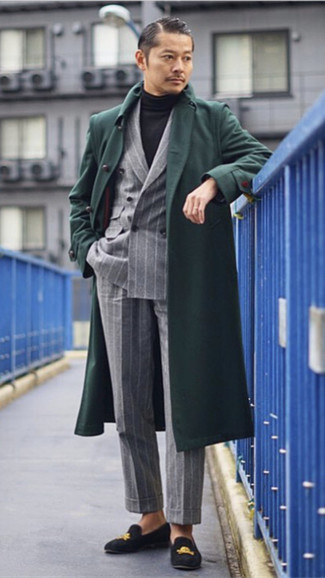 How to wear: dark green overcoat, grey vertical striped double breasted blazer, black turtleneck, grey vertical striped dress pants